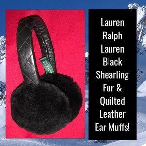 Lauren Ralph Lauren Shearling & Leather Ear Muffs!